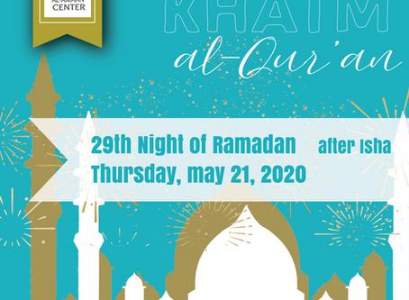 Join us tonight for our virtual Khatm al-Qur'an