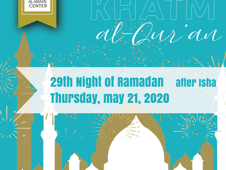 Join us tonight for our virtual Khatm al-Qur'an