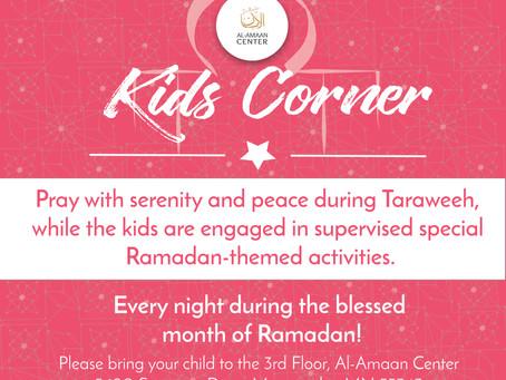 Kids' Corner during Taraweeh