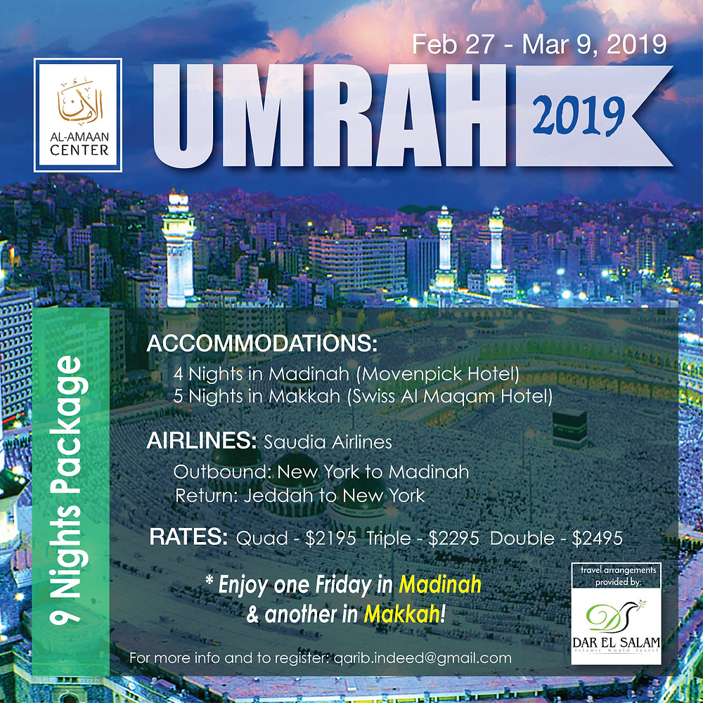 Join us for the Umrah 2019 pilgrimage trip. To register click here