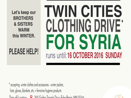 Let's help our Syrian brothers & sisters. Participate in the Twin Cities Winter Clothing Dri