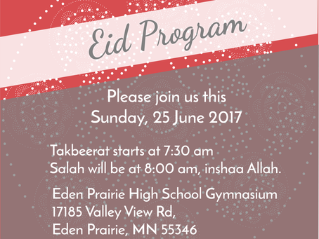 Eid Mubarak! Please join us for our Eid Prayer, this Saturday.