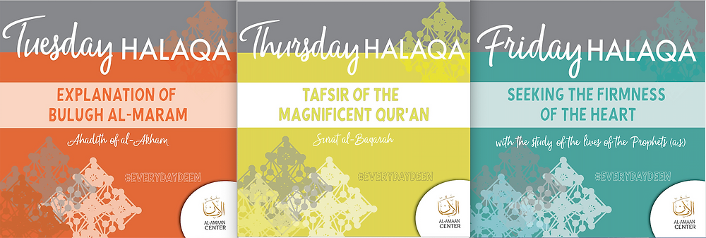 Starting November 1, 2018, all evening halaqaat (Tuesday, Thursday and Friday) will now be after Isha prayer.