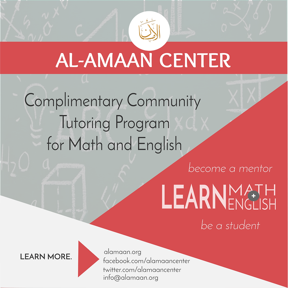 Register with Al-Amaan's Complimentary Community Tutoring Program for Math and English
