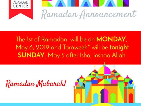 Ramadan 2019/1440 Hijri Announcement!