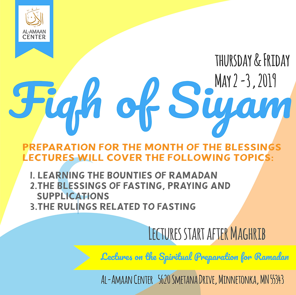 Join us and be ready for Ramadan 2019 @ Al-Amaan Center!