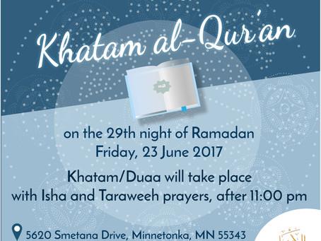 Khatam al- Qur'an at Al-Amaan Center