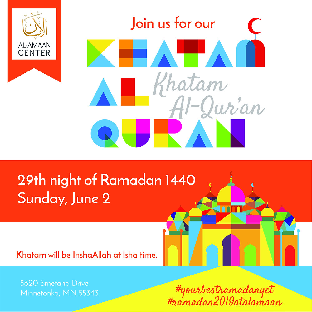 Join us this Sunday, for Khatam al-quran, click here for directions