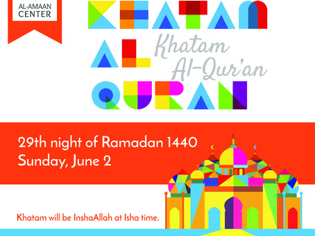 Join us this Sunday for Khatam Al-Qur'an