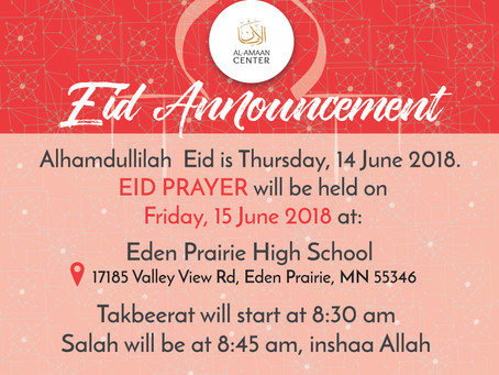 Eid Mubarak! Al-Amaan Center's Eid Prayer Details