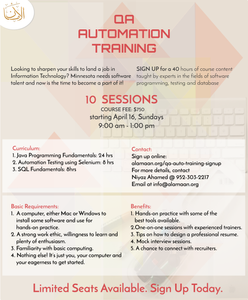 Sign up for the QA Automation Training. Click here