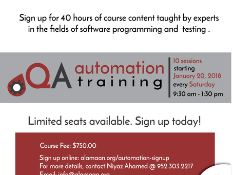 Please sign up for our next QA automation training! Starts January 20, 2018