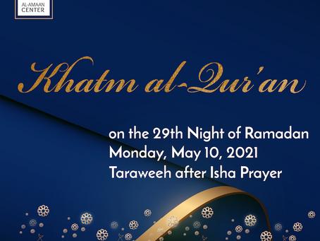 Khatm al-Qur'an at Al-Amaan Center