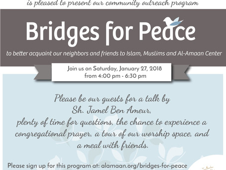 Join us this Saturday for the next Bridges of Peace Session.