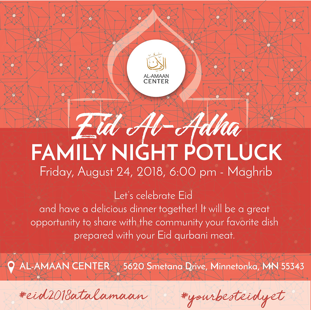 Join us this Friday, Aug 24, 6:00 pm - Maghrib for our family potluck. For directions, please click here