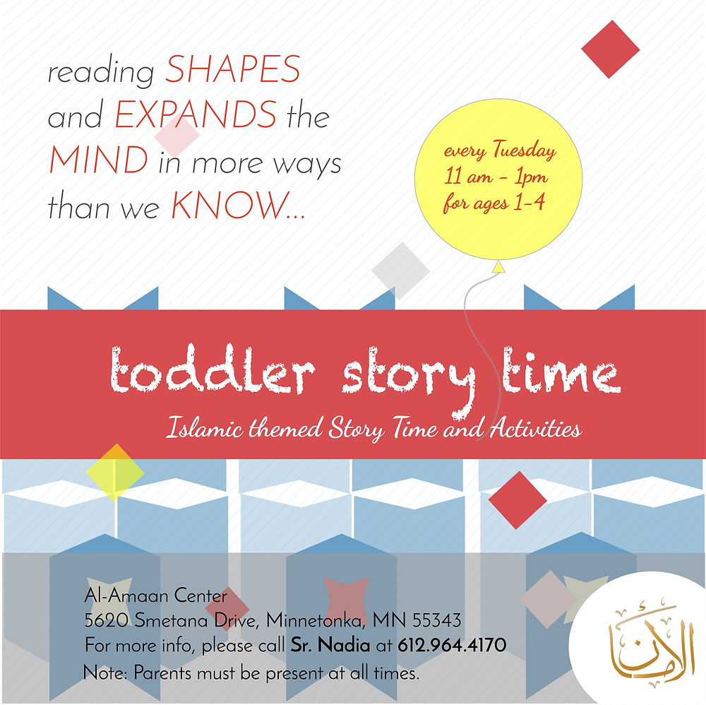 Let your tots learn to read, and love to read! Bring them over to Al-Amaan Center, every Tuesdays, 11 am - 1 pm