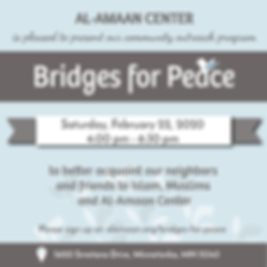 Alhamdullilah! Our next Bridges for Peace community outreach program is now open for registration. To learn more, visit alamaan.org/bfp