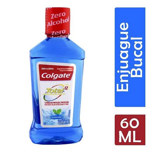Enjuague bucal Colgate Total 12 clean mint zero alcohol antibacterial 60 ml