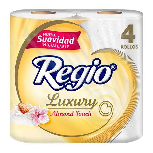 Papel higiénico Regio luxury almond touch 4 rollos con 190 hojas triples