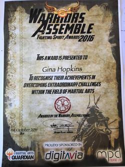 Gina's certificate