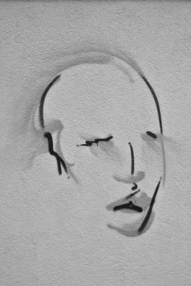 Face, unknown Artist, Hauswand Kienitzerstr., Neukölln, picture by Hilde Muffel