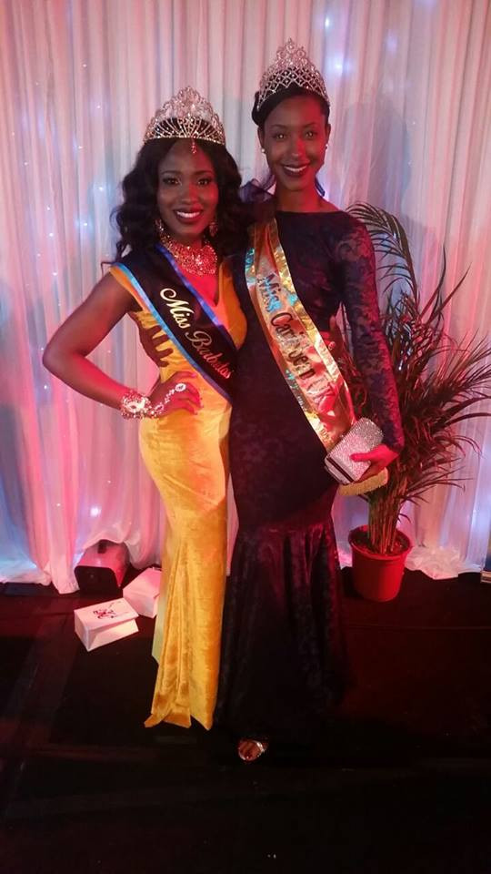 Miss Caribbean UK's Keeleigh Griffith with newly crowned winner of Miss Barbados UK Victoria Jovani Paris Small