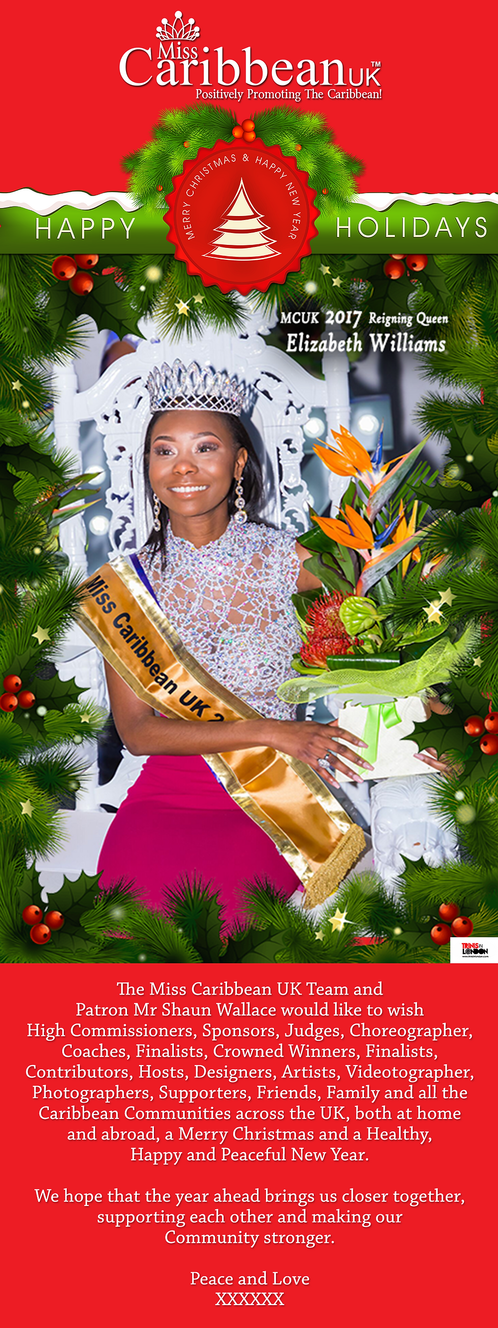 Miss Caribbean UK - Christmas Greetings