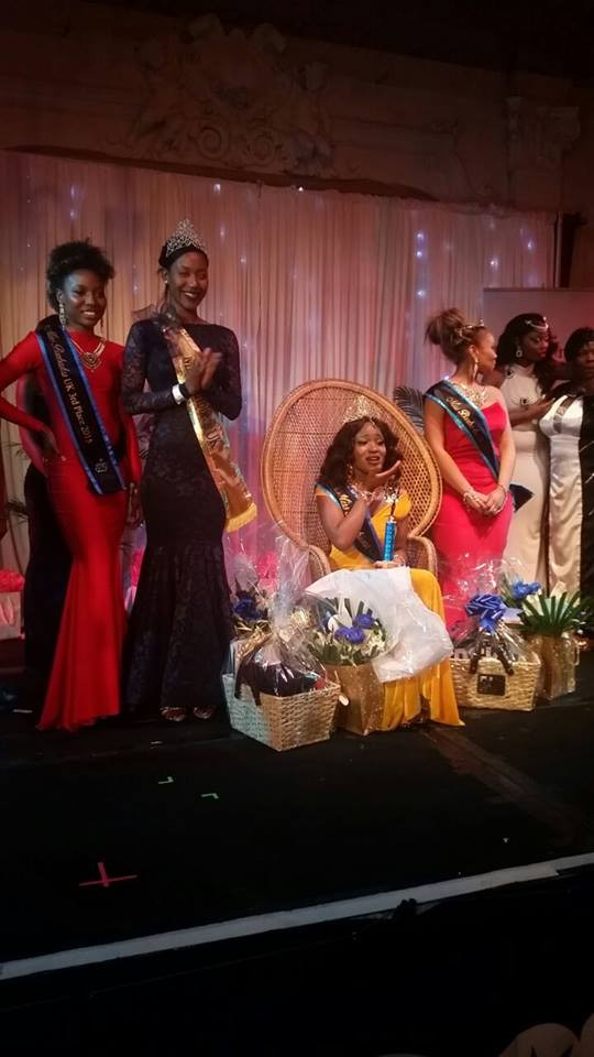 Miss Caribbean UK's Keeleigh Griffith on stage with winners