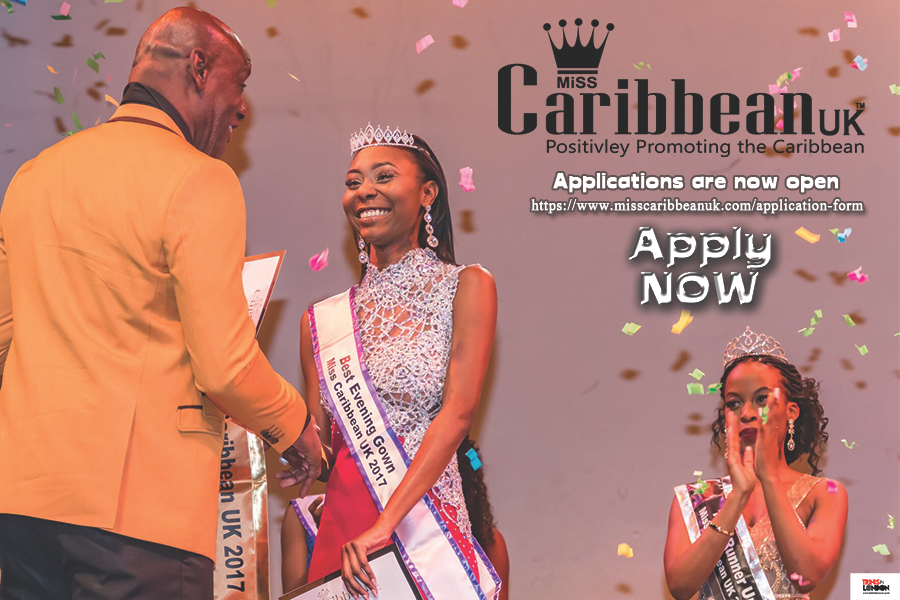 Shaun Wallace presenting the sash to the 2017 winner of Miss Caribbean UK - Elizabeth Williams
