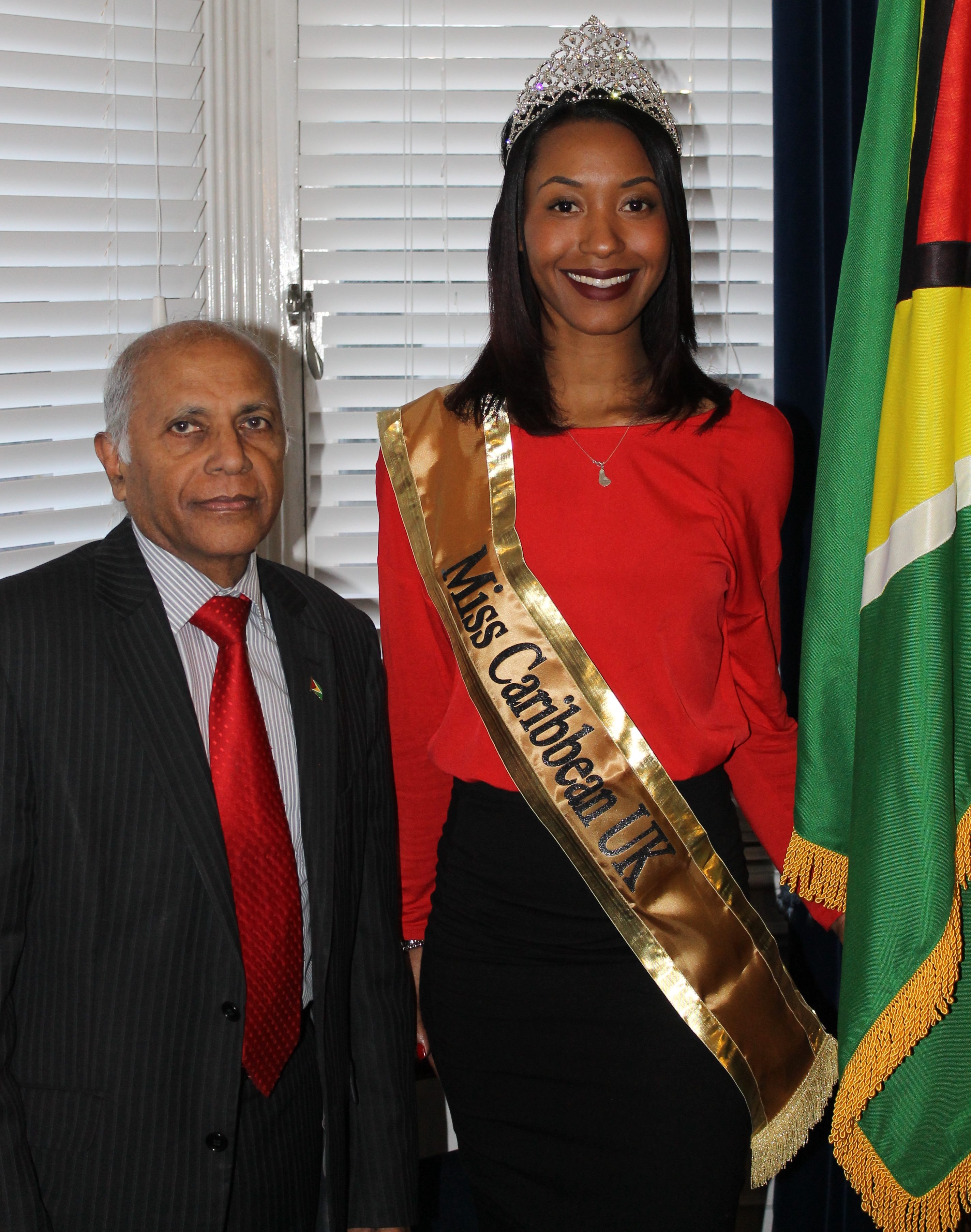 His Excellency  L. K. N. Singh Guyana High Commissioner &  Miss Caribbean, Miss