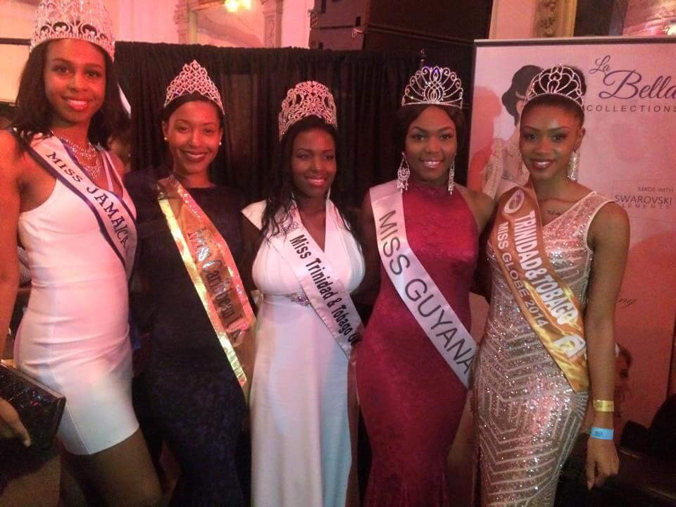 Miss Caribbean UK's Keeleigh Griffith together with other reigning UK Queens; Miss Guyana's Zena Bland, Miss Jamaica's Rianna Simmons-Brown, Miss Trinidad & Tobago's Sophia Joseph and Miss Trinidad and Tobago Globe's Zania Linton.