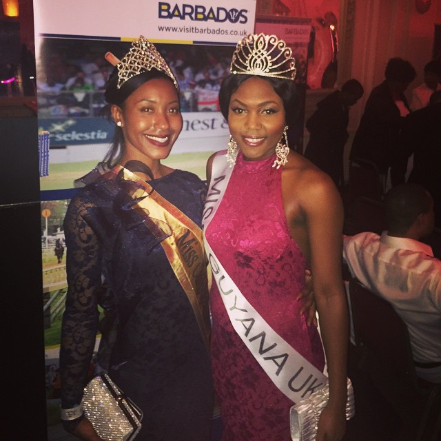 Miss Caribbean UK's Keeleigh Griffith with Miss Guyana's Zena Bland wearing dresses designed by AgyeFrance