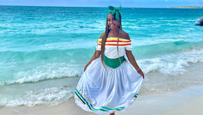 Our MCUK Queen Farrah Grant wearing the Turks and Caicos National Costume!