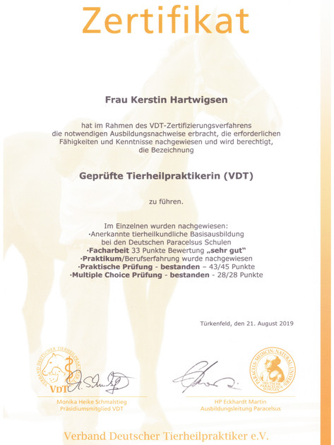 Zertifikat des Verbands der deutschen Tierheilpraktiker