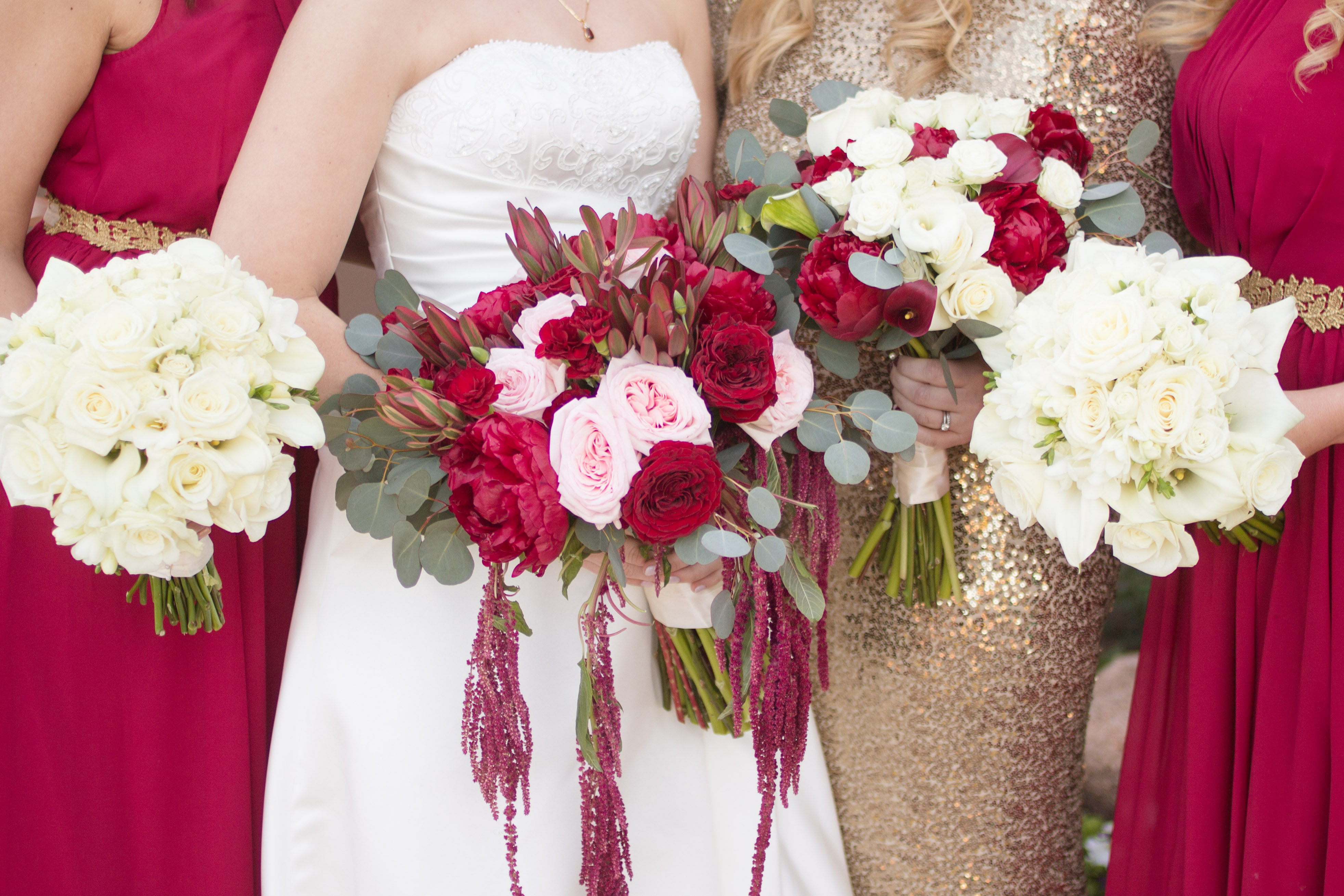 bride and bridesmaid detail