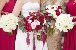 bride and bridesmaid detail