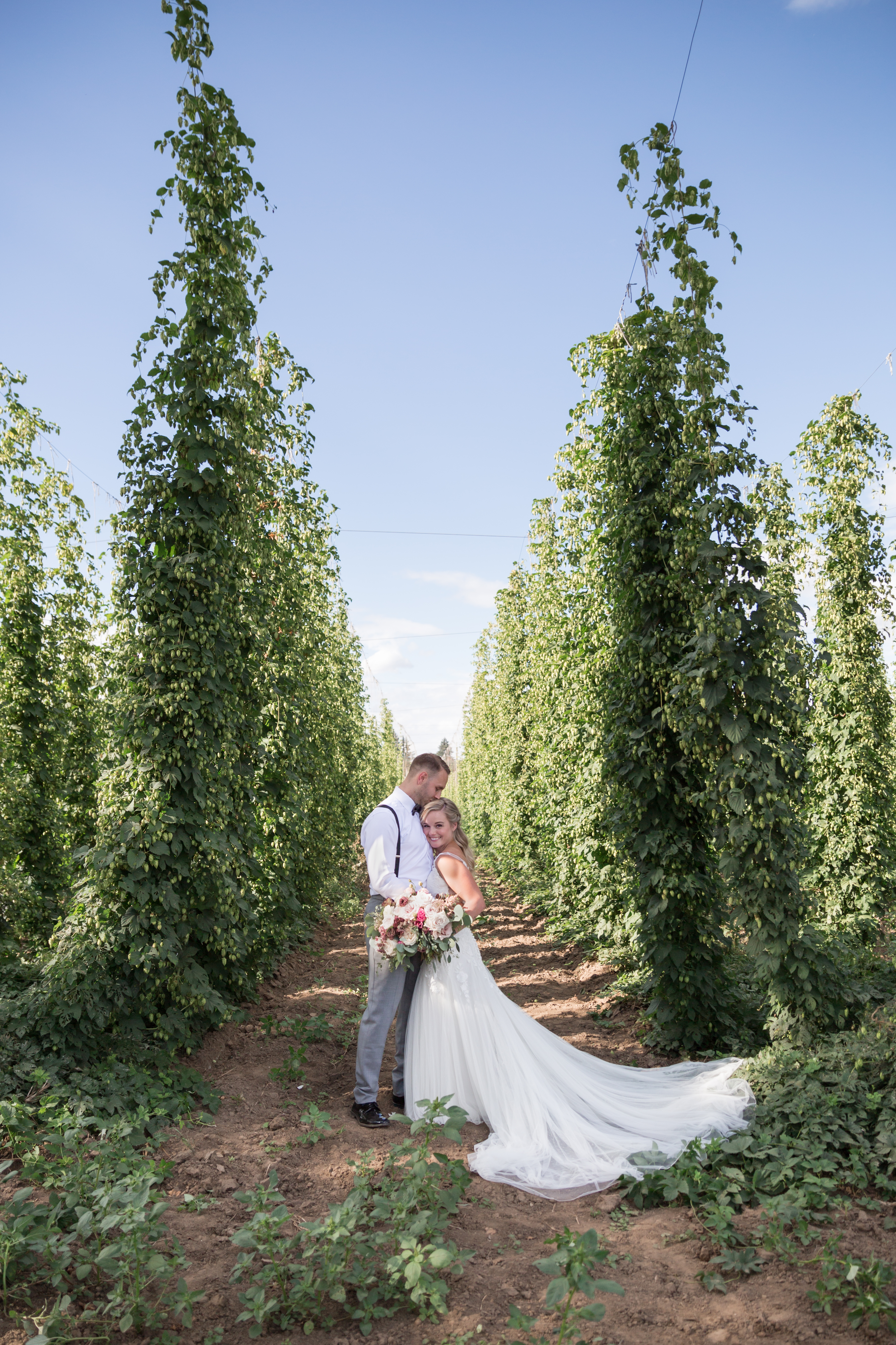 bride and groom in hops