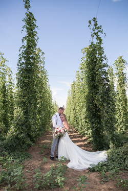 bride and groom in hops