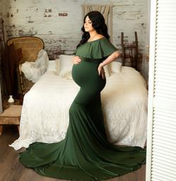 Green Maternity dress Boho Room