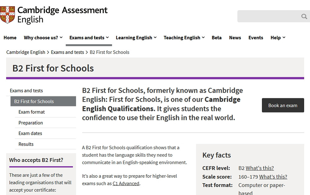 Cambridge website.