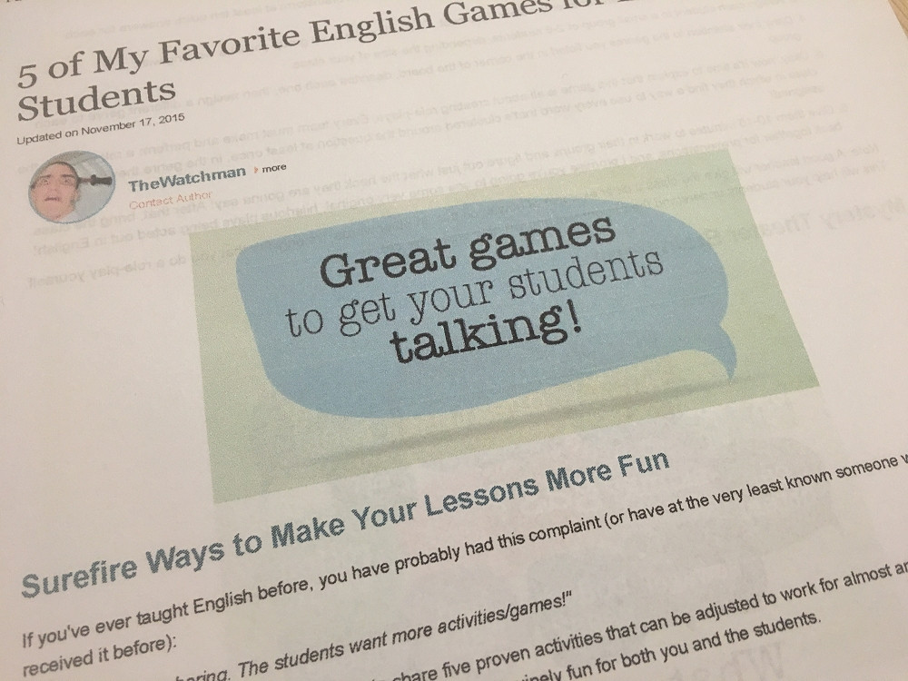 Great games to get your students talking!