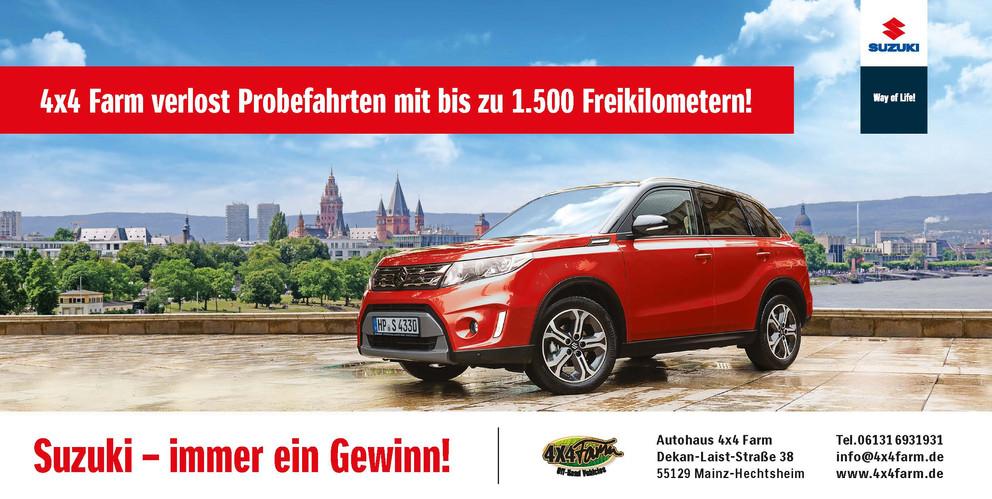 SUZUKI Werbekampagne zur Wiedereinführung der Marke SUZUKI in Mainz