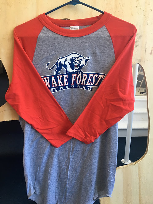 3/4 Red Sleeve Wake Forest Cougars T-Shirt