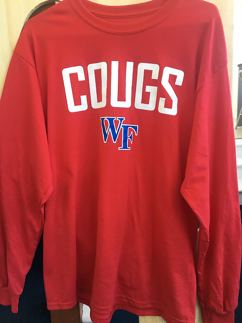 """Red Long Sleeve """"COUGS"""" T-Shirt"""