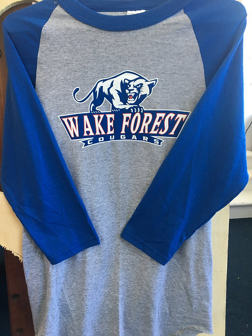 3/4 Blue Sleeve Wake Forest Cougars T-Shirt