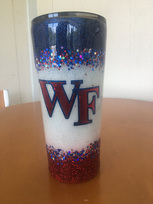 Red, White & Blue WF glitter 24 oz tumbler