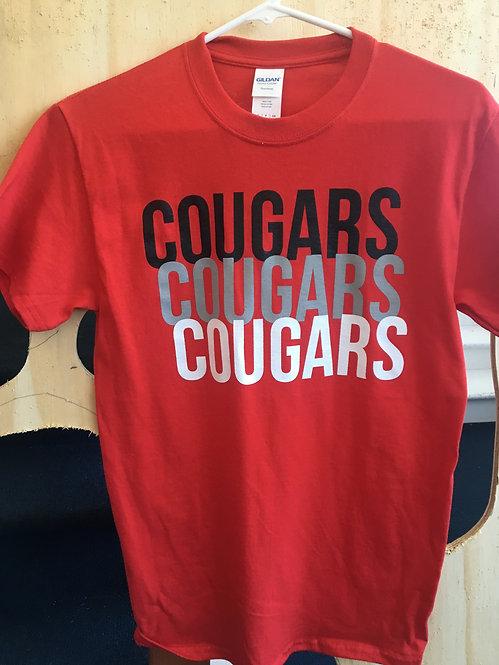 Red, short sleeve Cougars shirt