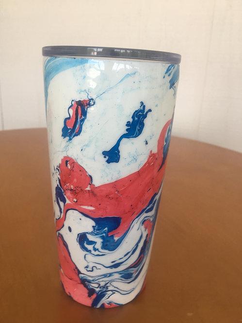Swirled Red, White & Blue 20 oz tumbler