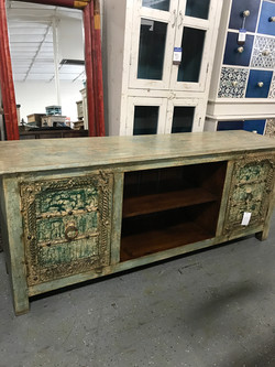Green Carved TV Stand