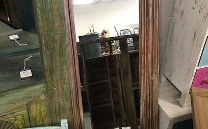 Beautiful Distressed Red Mirror. Artisan Furniture Store Located In Orlando,  FL.